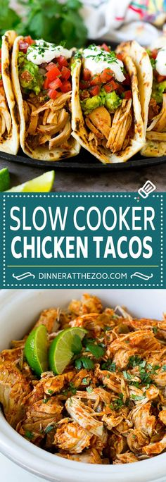 Slow Cooker Chicken Tacos - Dinner at the Zoo - crockpot recipe Slow Cooker Chicken Tacos, Chicken Taco Recipes, Crock Pot Tacos, Chicken Cooker, Easy Chicken Tacos, Mexican Chicken Tacos, Crock Pot Chicken Mexican, Chicken Taco Bake, Crock Pot Chicken Fajitas