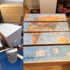 Map decoupage on our Ikea Malm drawers - looks fab!