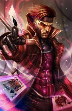 X-Men Gambit by Alex Malveda Comic Book Characters, Marvel Characters, Comic Character, Comic Books Art, Comic Art, Gambit Marvel, Gambit X Men, Rogue Gambit, Xmen