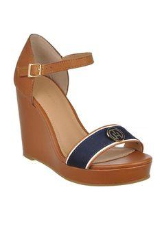 Tommy Hilfiger - Womens Emery Wedged Sandal Brown - www.mcelhinneys.com
