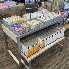 Nordstrom-Rack Beauty-To-Go Fenced Island Display Retail Fixtures, Slat Wall, Fencing, Nordstrom Rack, Shelf, Sign, Island, Display, Table