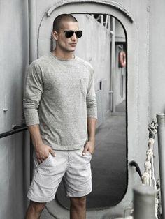 shorts and long-sleeved shirt