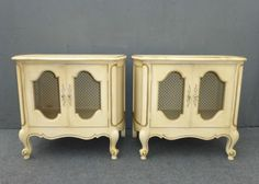 Pair Gorgeous French Provincial NIGHTSTANDS Wire Mesh French Country Cottage in Antiques, Furniture, Nightstands, Post-1950 | eBay