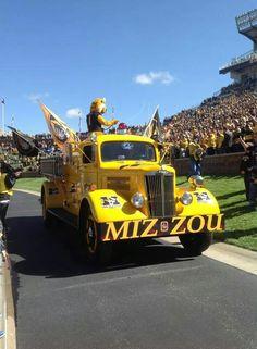 Truman on the Fire Truck Columbia Missouri, Missouri Tigers, Fire Trucks, College Football, University, Happiness, Spirit, Gold, Black
