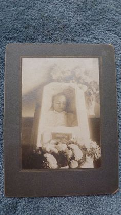 Antique Post Mortem Boy Lying Inside Closed Casket with Window Cabinet Photo