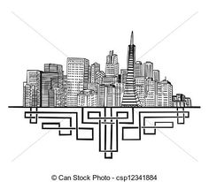 cityscape drawing black and white - Google Search