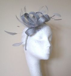 Metallic Silver Fascinator Hat for Weddings/Ascot/Proms With Headband