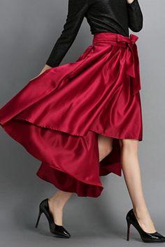 Love! Love! LOVE this Skirt! Burgundy High Waist Bowknot Pleated Skirt