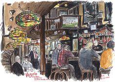 Vesuvio, San Francisco,urban sketching, bar, sports, people