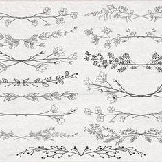 Armband Tattoo, Wrist Tattoo, Doodle Borders, Leaf Clipart, Leaf Border, Flower Svg, Hand Sketch, Graphic Illustration, Illustrations