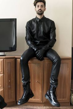relaxing in sexy leather gear