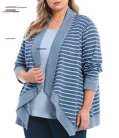 Plus Size Double Face Stripe Print Jersey Open Front Cascade Cardigan - Slate Blue Heather/Cloud Blue Kids Coats, Printed Leggings, Stripe Print, Dillards, Latest Trends, Plus Size, Slate, Cloud, Long Sleeve