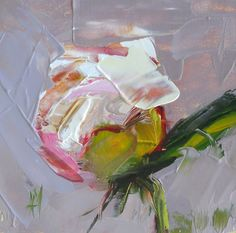 One of my favorite flowers! Peony no. 9 original floral oil painting by moulton 4 x 4 inches on panel  prattcreekart