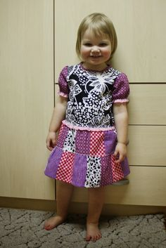 Girls patchwork dress in pink purple black white
