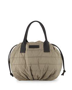 Puffer Drawstring Tote Bag w/Monili Trim, Green Tea - Brunello Cucinelli