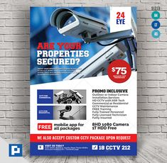 This CCTV Camera Store Flyer Design has been develop to boost your marketing campaign. Promo Flyer, Camera Store, Marketing Opportunities, Psd Templates, Flyer Design, Messages, Lettering