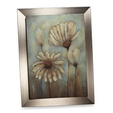 Green Flower Embellished Canvas Wall Art
