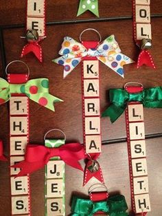Over 40 of the BEST Homemade Christmas Ornament Ideas - Christmas - Scrabble Ornaments….these are the BEST Christmas Ornament ideas! Diy Christmas Ornaments, Christmas Holidays, Ornaments Ideas, Christmas Recipes, Christmas Ideas, Felt Christmas, Letter Ornaments, Scrabble Christmas Decorations, Scrabble Ornaments Diy