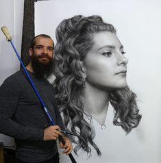 Eye Painting, Figure Painting, Amazing Drawings, Amazing Art, Artist Art, Artist At Work, Cesar Santos, Popular Paintings, Hyper Realistic Paintings