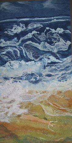 Rough Sea - felt work by Helen Melvin