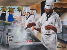 Urban Moment #5- Caribbean Cuisine  This painting was inspired after a travel to Cuba. The resort had exceptional food. Who doesn't like good food? There is a enlightening and vibrant nature in the Caribbean. The Caribbean is one of the areas that I visit the most.