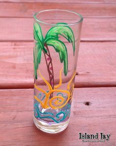 Hand Painted Dandelion Shooter Glass