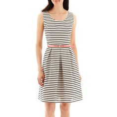 Tiana B. Sleeveless Striped Belted Fit-and-Flare Dress  found at @JCPenney - YOU NEED THIS!