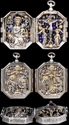Diptych Pendant Diptych Pendant Unknown maker Germany About Partially gilded silver and basse taille enamel A History of Jewellery - Victoria and Albert Museum Renaissance Jewelry, Renaissance Era, Medieval Jewelry, Ancient Jewelry, Antique Jewelry, Vintage Jewelry, Vintage Items, Medieval World, Medieval Art
