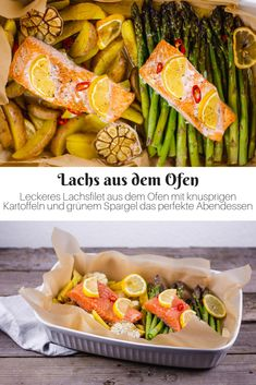 Oven-baked salmon with potatoes and asparagus Salmon with potatoes … - Kartoffeln Supper Recipes, Easy Dinner Recipes, Salmon Potato, Welsh Recipes, Oven Baked Salmon, Protein Rich Foods, Vegetarian Recipes, Healthy Recipes, Lunch Meal Prep