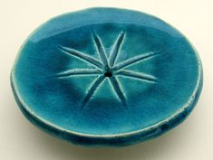 "Round soap dish with star - ""Lagoon"" series (white clay, turquoise blue glaze). Ceramics by Studio Saskia Lauth / France - www.saskia-lauth.com"