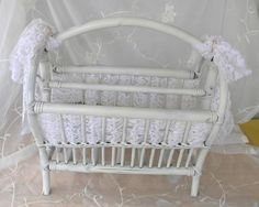 Vintage Rattan Upcycle Magazine Rack Shabby Chic by RitasGarden