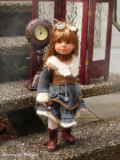 OOAK Hand-Knitted Steampunk~Victorian Ensemble fits slim Gotz Happy Kidz dolls #DebonairDesigns