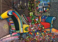 """Saatchi Arte Artista: Daniel Levy; Pintura de la acuarela """"Gato Maximilista"""""""