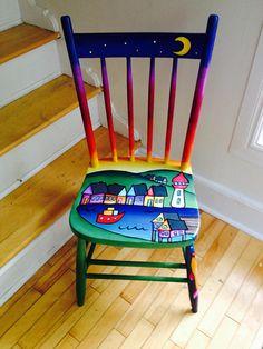 Nova Scotia fishing village hand painted chair Le chiamano sedie e non solo Art Furniture, Funky Furniture, Repurposed Furniture, Vintage Furniture, Furniture Market, Furniture Chairs, Upholstered Chairs, Furniture Stores, Cheap Furniture