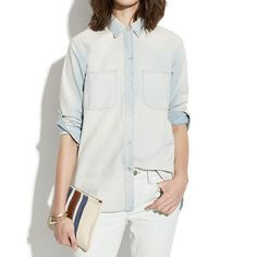 Perfect Chambray Ex-boyfriend Shirt In Ferrous Wash by Madewell