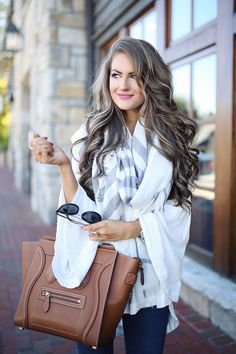 white bell sleeve top, grey plaid scarf, Celine handbag