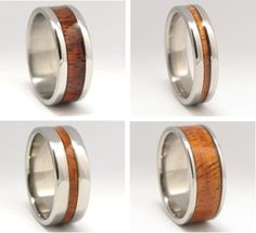 Hawaiian Koa Wood Rings are made on the Big Island of Hawaii from exotic native Koa wood and titanium, one of the world's most environmentally friendly metals. Titanium is 7% stronger and 30% lighter than platinum, and its total biocompatibility makes it less harmful to the environment. These rings are kind to your wallet AND the Earth