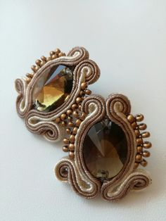Beige small soutache earrings with brown cabochon