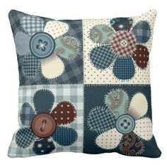 #country - #Country patchwork flowers picture pillow