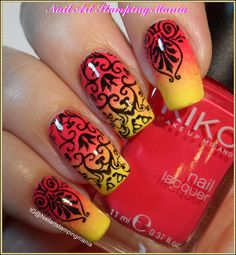 Nail Art Stamping Mania: Gradient Manicure with Acrylic Stamping Plate from Cici&Sisi - Swatches And Review