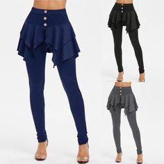 Fashion Women pencil Pants pantskirt Solid Print Irregular Ladies Button One Piece Pants Legging Skirts High waist culottes Pant  Price: 13.28 & FREE Shipping  #fashion|#health|#beauty|#fitness Leggings Mode, Skirt Leggings, Leggings Fashion, Dress Pants, Leggings Are Not Pants, Zumba, Athleisure, Leather Leggings Plus Size, Printed Gym Leggings