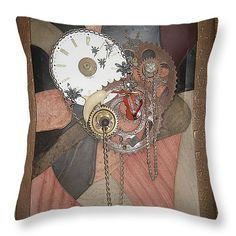 "TimePiece Throw Pillow 14"" x 14"""