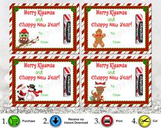 printable merry kissmas and chappy new year 4 different designs chap stick card tag holder merry christmas happy new year