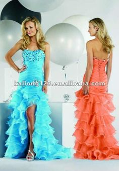 orange coral hi lo pageant | ... Orange Beaded Ruffled Organza High low Prom Dress-in Prom Dresses from