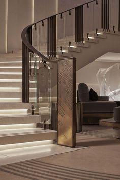 Staircase Interior Design, Staircase Railing Design, Luxury Staircase, Home Stairs Design, Dream Home Design, Modern House Design, Home Interior Design, Modern Stairs Design, Stairs Architecture
