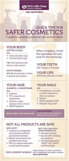 """There are virtually no regulations in the US regarding cosmetics. Therefore, the products we buy and use daily are FULL of harmful chemicals and ingredients. This guide, """"Quick Tips for Safer Cosmetics,"""" is from one of my favorite organizations, EWG (Environmental Working Group)."""