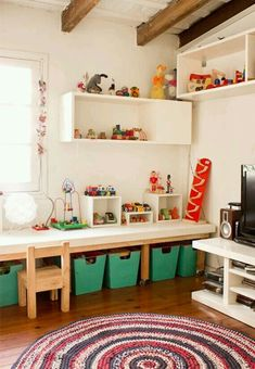 Kids playroom; storage table work area on caster wheels