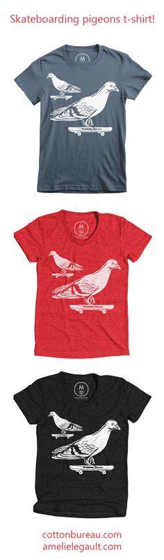 Skateboarding pigeons t-shirt for men, women and kids. Design by artist Amelie Legault.  Available on Cotton Bureau herehttps://cottonbureau.com/products/skateboarding-pigeons #pigeontshirt #pigeontee #skateboard #skateboardtshirt #cottonbureau #amelielegault