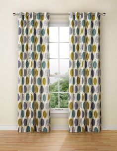 Contemporary Leaf Eyelet Curtains Living Room