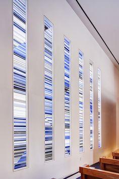 Kilnformed glass windows by Jun Kaneko at Temple Har Shalom, Park City, Utah
